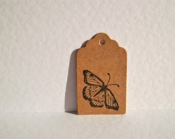 mini tags, butterfly tags, gift tags, mini gift tags, kraft tags, hang tags, tiny tags