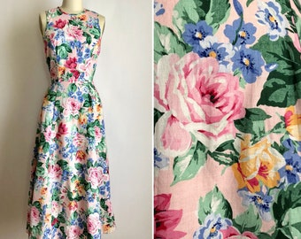 vintage cotton floral dress S/M ~ 90s summer midi dress
