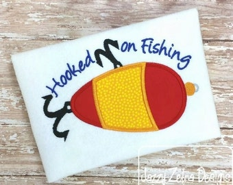 Hooked on Fishing Appliqué embroidery Design - fishing Appliqué Design - lure Applique Design