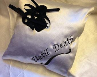 Gothic black and white wedding pillow
