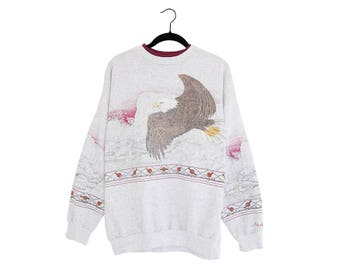 Vintage Double Sided Eagle Flying Over The Hills Southwest Style 50/50 Poly-Cotton Blend Heather Gray Sweatshirt, Made in USA - XL