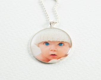 Silver Photo Necklace   Custom Photo Pendant   Personalized Gift   Gift for Parent   Sterling Silver Necklace   Personalized Photo Jewelry
