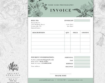 Templates Etsy - Business invoice template free online hair store