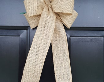 Burlap Bow Everyday Bow Bow for Wreath Bow For Church Pew