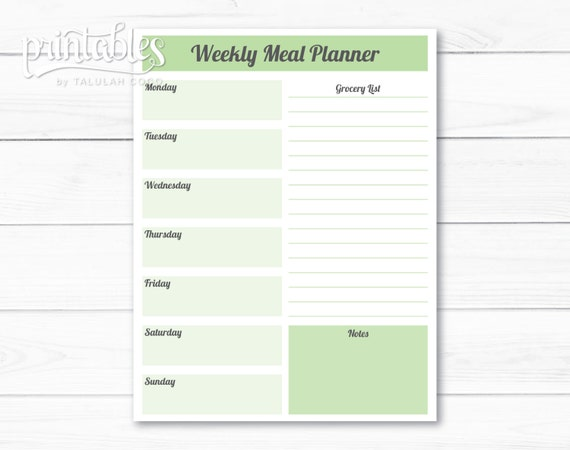 Editable Meal Planner Template Weekly Meal Planner With