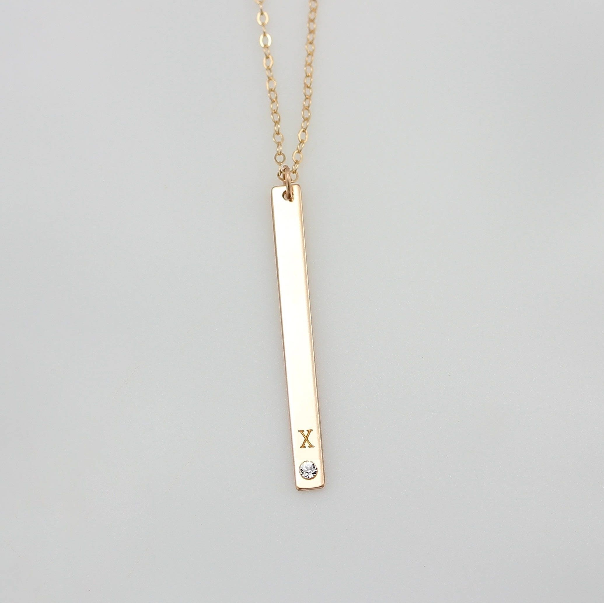 18th Birthday Cz T Bar Sterling Silver Heart Bracelet Can: Personalized Vertical Bar Necklace Initial Necklace / Long