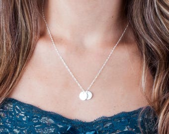 Silver Disc Necklace, 2 Disc Necklace, Personalized Necklace, Disk Necklace, Initial Tag Necklace, Silver Initial Choker, Custom Necklace