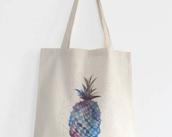 Blue pineapple cotton canvas tote bag, Pineapple tote, Watercolor fruit illustration shopping bag, Pineapple illustrated bag, Fruit print