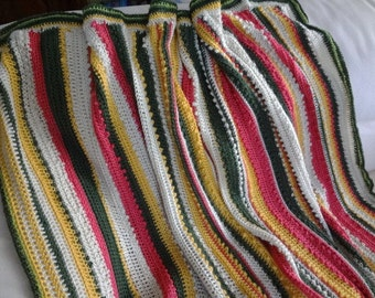 New Lower Price      Ribbons of Picots  Crocheted throw Yummy colors easy care