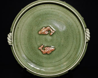 "144--Chinese Yuan Dy. 1200s ""Winter-green"" celadon Longquan Kiln or scholar's twin fish brush pot 双鱼笔洗"