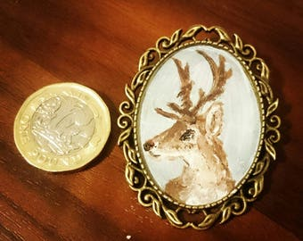 Hand-painted Stag Brooch
