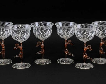 Rare Bimini Lausha- art deco wine glasses-set of 6 wine glasses-1930