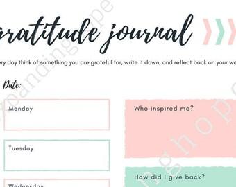 Weekly Gratitude Journal; Printable; Instant Download