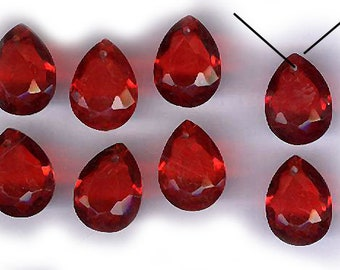 vintage glass drops CANDY APPLE red EIGHT glass pearl shape top hole teardrop dangle just add a bale bridal finding