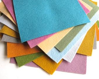 Felt Sheets, Dusty Tones, 100% Merino Wool, Set of Twelve Sheets, Felt Assortment, DIY Kit, Wool Applique, Felt Set, DMC Embroidery Floss