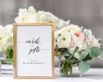 Cards And Gifts Sign, Cards & Gifts Printable Template, Gift Table Sign, Printable Wedding Sign, Guestbook Wedding Sign Download - KPC04_307