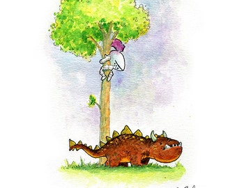 Short Brown Dragon Watercolor Print
