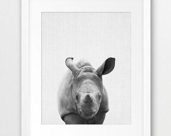 Rhino Print, Baby Rhino Print, Nursery Animal Wall Art, Safari African Animals, Black And White Animal Print, Kids Room Decor, Printable Art