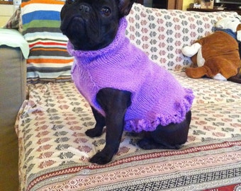 French Bulldog Knit Handmade Ruffled Dress-Sweater for Dogs /TRACKING CODE PROVIDED