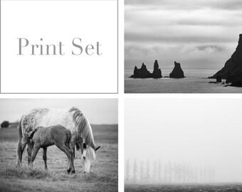 Black and white photos -  Fine art photo prints - Sale 20% OFF - Minimal Iceland print set of 3 - Travel wall decor set - Art gift - 16x20