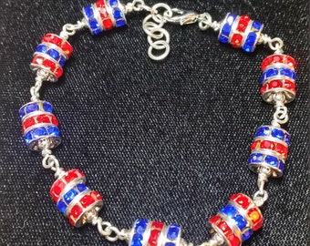 "Crimson and Blue 8"" Bead Bracelet"