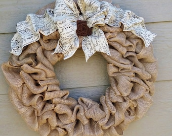 Burlap Wreath With Large FRENCH SCRIPT  Bow and rose - X-Large 25 inch - Tan Burlap Wreath
