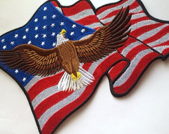 Waving American Flag Patch Eagle USA Flag American Patriot Emblem Patch for Jacket
