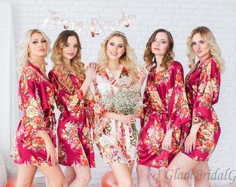 Bridesmaid Robes, Bridesmaid Gift, Satin Bridesmaids Robe, Kimono Robes, Bridal Party Robes Wedding Robe, Floral Bridesmaids Robe, Silk Robe