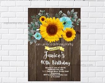 woman birthday, sunflower invitation, sunflower birthday, rustic invitation, rustic party, adult birthday, surprise party,  card 1177