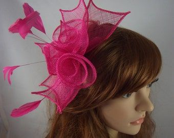 Fuchsia Pink Rose Comb Fascinator with Feathers - Occasion Wedding Races