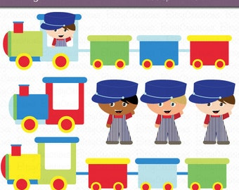 Train Boys Clipart Digital Art Set Commercial Use Clip Art INSTANT Download Train Clipart