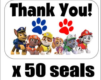 """50 Paw Patrol Thank You Envelope Seals / Labels / Stickers, 1"""" by 1.5"""""""