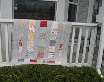 Line Dance Throw or Crib Quilt made with Sweetwater's Hometown Fabric from Moda