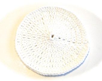 White Crocheted Round Dish Cloth