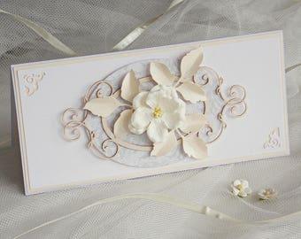 Handmade Wedding Invitations, grey wedding invitation, flower wedding invitation