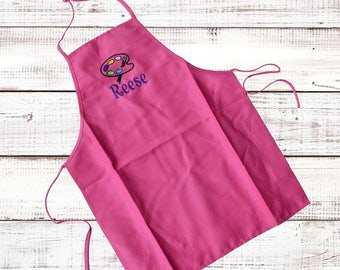 Personalized Kids Apron,Monogrammed Youth Apron,Kids Art Apron,Embroidered Girls Apron, Sports,Monogrammed Princess Apron,Kids Paint Apron