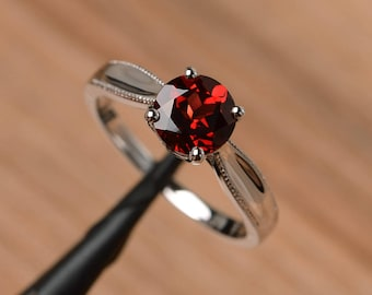 natural red garnet ring solitaire ring wedding ring sterling silver ring round cut gemstone ring January birthstone