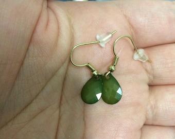 Green Drop Gem Earrings