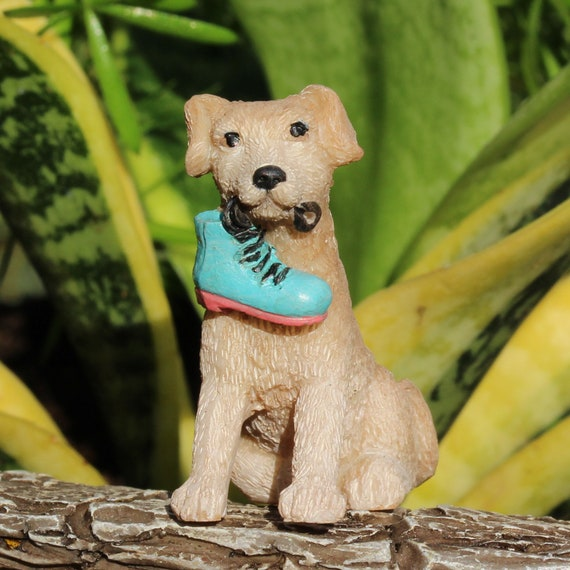"""Rascal the Puppy with Fairy Boot in his Mouth (1.5"""" Tall) for the Fairy Garden"""