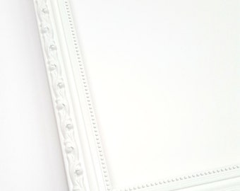 White Solid Wood Photo Picture Frame Ornate Shabby Chic Style with Regular Glass