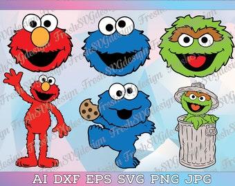 Sesame Street Monster svg, Sesame Street Oscar svg, Sesame Street Elmo svg, Sesame Street Cookie Monster svg, Sesame Street Party, Elmo svg