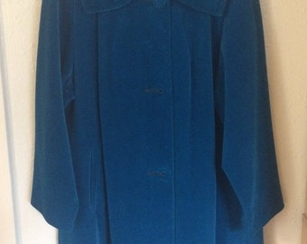 1960s French Canadian Blue Velour Coat
