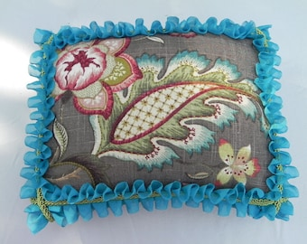 Artisan Handmade Decorator Pillow - Teal, Green, Red Stylized Floral on Gray Ground