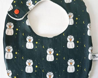 Bib made of cotton and organic cotton GOTS certified organic Terry * patterns owls at night * exclusive Ma Squidge creation