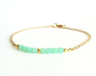 Aqua Bracelet, Dainty Gold Bracelet, Thin Gold Bracelet, Dainty Bracelet, Thin Beaded Bracelet, Delicate Bracelet, Gold Friendship Bracelet