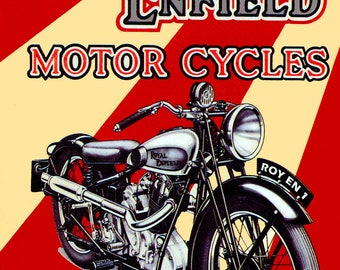 Metal Sign  Wall Art -  Royal Enfield Motor Cycles.