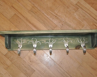 5 Fork Hook Coat Rack with Shelf in Stained Green Recycled Silverware