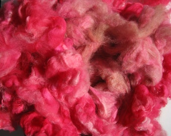 Hand Dyed Huacaya Alpaca Fleece,  Red Fiber for Spinning and Felting, 7 ounces