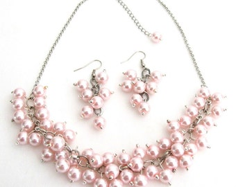 Soft Pink Pearl Chunky Beaded Necklace With Earring Bridal Gift Free Shipping In USA