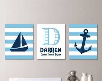 Baby Boy Nursery Art. Nautical Nursery Decor. Nautical Nursery Print. Nautical Nursery Art. Sailboat Nursery. Nautical Bedroom Art. (NS-577)